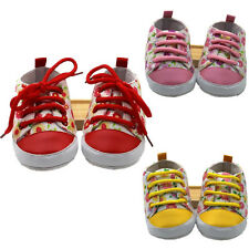 1Pair Newborn Baby T-Tailed Soft Floral Anti Skid Infant Toddler Canvas Shoes