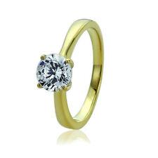 Women 7mm 14K Gold 1.25 Carat Round CZ Classic Solitaire Wedding Engagement Ring