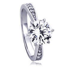 Women 14K White Gold 2 ct CZ 6 Prong Classic Solitaire Wedding Engagement Ring