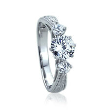 Women 7mm 14K White Gold Wedding Ring 1ct Round CZ Three Stone Anniversary Ring