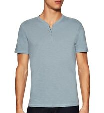 John Varvatos Star USA Men's Short Sleeve 4 Snap Henley Pond Blue $98 msrp NWT