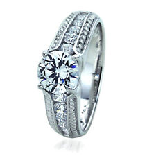 Women's Fine band 7mm 14K White Gold 1.25 ct CZ Wedding Engagement Ring