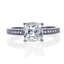 Women's Fine band 7mm 14K White Gold 1.25ct Cushion CZ Solitaire Wedding Ring