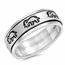 Men Women 8mm 925 Sterling Silver Band Oxidize Finish Elephant Spinner Ring