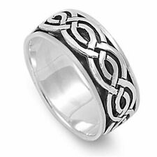 Men Women 9mm 925 Sterling Silver Band Celtic Spinner Ring / Gift Box
