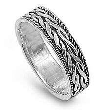 Men 6mm 925 Sterling Silver Band Oxidize Finish Braided Rope Spinner Ring