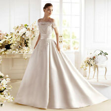 Boat Neck Lace Wedding Dresses Satin Off the Shoulder Bridal Gowns A line W2040