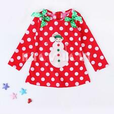 Girl Kid Baby Snowman Xmas Top Dress T-shirt Blouse Toddler Bows Clothes SZ 2-6Y