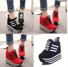 Ladies Striped Lace Up High Platform Concealed Wedge Sneakers Trainers Shoes