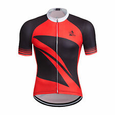 Men's Cycling Jersey Quick Dry New Bicycle Wear Top Bike Jacket Short Sleeve Red
