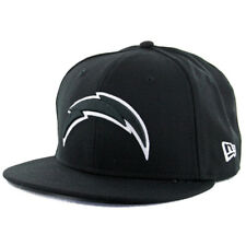 """New Era 59Fifty San Diego Chargers """"BK BK WH"""" Fitted Hat (Black White) Cap"""