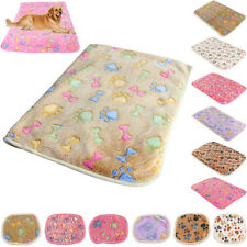 Coral cashmere Cat Dog Puppy Soft Blanket Bed Cushion Pet Small Large Paw Print