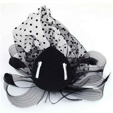 Lady Party Fascinator Veil Wedding Decor Hair Accessory Feather Flower Clip Hat