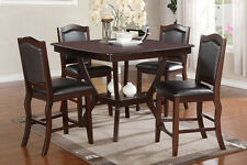 NEW 5PC THORNTON II ESPRESSO FINISH WOOD COUNTER HEIGHT DINING TABLE  SET CHAIRS