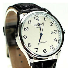 Automatic Calendar Watch Faux Leather Wrist Classic Luxury Mechanical