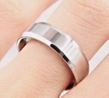 New 6mm Stainless Steel Silver Plated Plain Mens Ring Womens Band (Sizes M to Y)