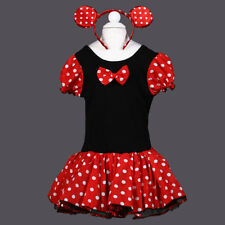 Halloween Girl Party Costume Ballet Dance Dress Polka Dots Skirt With Headband P