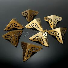 4Pcs Decorative Jewelry Wooden Gift Box Cabinet Corners Protector Antique Brass
