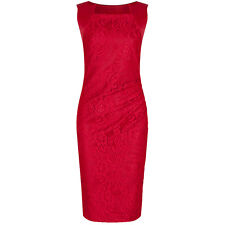RED PANELLED 40s HOLLYWOOD LACE WIGGLE BODYCON PENCIL VINTAGE COCKTAIL DRESS