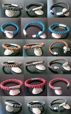 leather bracelet round bolo leather braid stainless steel locking clasp