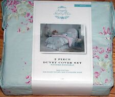SIMPLY SHABBY CHIC DUVET COVER WHITE MESHED LACE TEXTURED PINK FADED PAPER ROSE