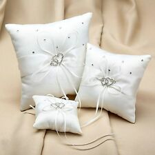 White Double Heart Bridal Wedding Crystal Rhinestone Bearer Ring Pillow Cushion