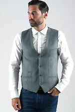 Mens Marc Darcy Designer Grey Wool Style Slim Fit Tailored Waistcoat Formal Vest