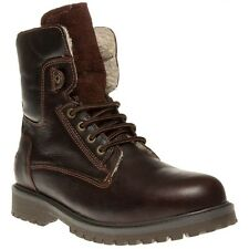 New Mens Wrangler Brown Aviator Leather Boots Lace Up