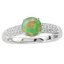 925 Sterling Pure Solid Silver Ring 6mm Natural Ethiopian Opal Gemstone Ring