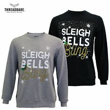 Mens Threadbare Crew Neck Graphic Print Funny Christmas Jumper Xmas Jumper Top