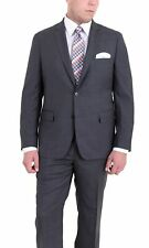 Mens Modern Fit Charcoal Gray Textured Two Button Super 140's Wool Suit