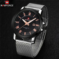 New Naviforce Men's Stainless Steel Analog Quartz Date Alarm Sport Wrist Watch