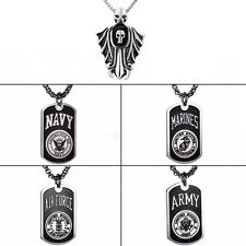 Men's Black Silver Stainless Steel Dog Tag Cuban Chain Necklace Pendant Jewelry