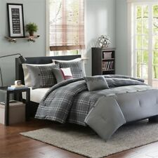 NEW Twin XL Full Queen King Bed 5 pc Gray Red White Plaid Comforter Set Sporty
