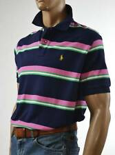 Ralph Lauren Classic Fit Navy Blue-Green,Pink Stripe Mesh Polo Shirt/ Pony-NWT