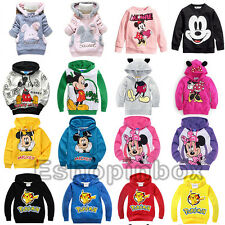 Mickey Minnie Baby Girls Hoodie Sweatshirt Pikachu Boys Pullover Clothing Tops