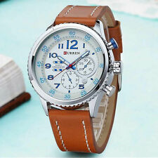 Fashion Sport Casual Men's PU Leather Dial Analog Quartz Wrist Watch WristWatch