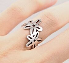 New Stainless Steel Silver Plated Cubic Flower Ring Womens Band (Size L to W)