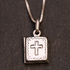 925 Sterling Silver Holy Bible Cross Locket Pendant Necklace Handcraft /Gift Box