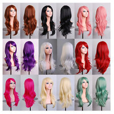 Sexy Layered Long Wavy Full Wigs Cosplay Costume Party Anime Curly Hair Bangs