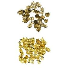 100pcs Round 8mm Dome Flower Loose Spacer Bead End Accent Caps Gold Bronze