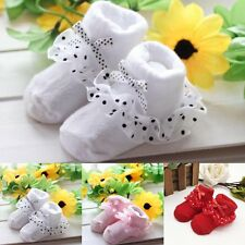 Baby Girls Anti-slip Lace Trim Socks Infant Toddler Newborn Slipper Shoes Boots