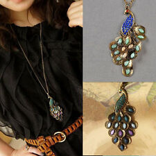 Hot Peacock Pendant Lady Retro Style Chain Necklace 1pcs Rhinestone Long Women