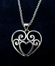 925 Sterling Silver Heart in Heart Charm Pendant Necklace Link Snake Chain