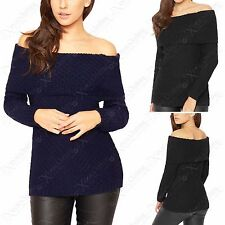 LADIES CABLE KNIT BARDOT JUMPER WOMEN OFF SHOULDER DRAPE NECK CHUNKY KNITTED TOP