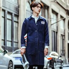 Korean Mens Fashion Cotton Denim Jean Trench Coat Jacket Long Baggy Outwear Tops