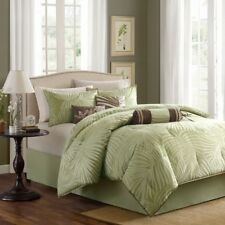 NEW Queen King Bed 7pc Comforter Set Green Brown Tropical Palm Fronds Plants NWT