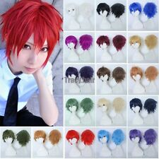 Cheap Anime Cosplay Wigs Unisex Halloween Costume Full Head Wig With Bangs Short