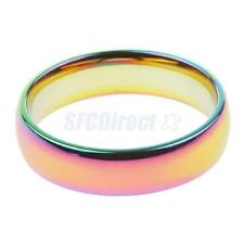 Classical Rainbow Colorful Titanium Stainless Steel Rings Wedding Band Ring 6mm