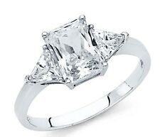 14k Solid White Gold Engagement Ring 2.5 Ct Diamond 3 Three Stone Emerald-Cut